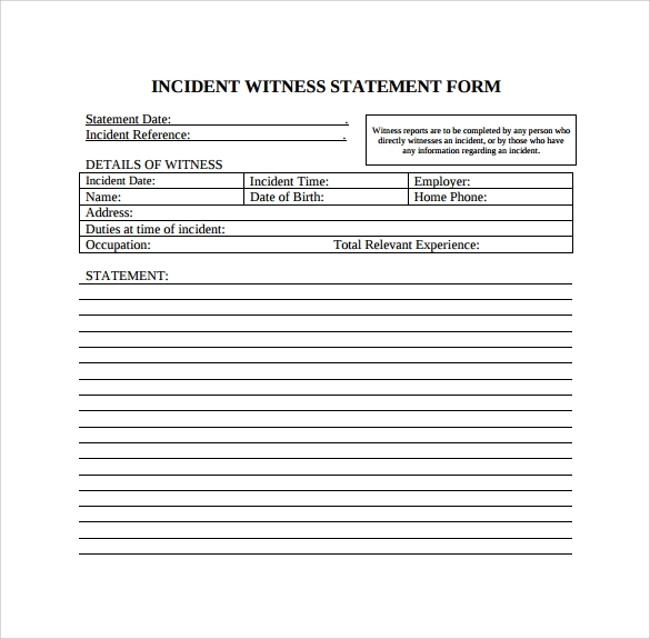 Witness Statement Template   Download Free Documents In Pdf Word