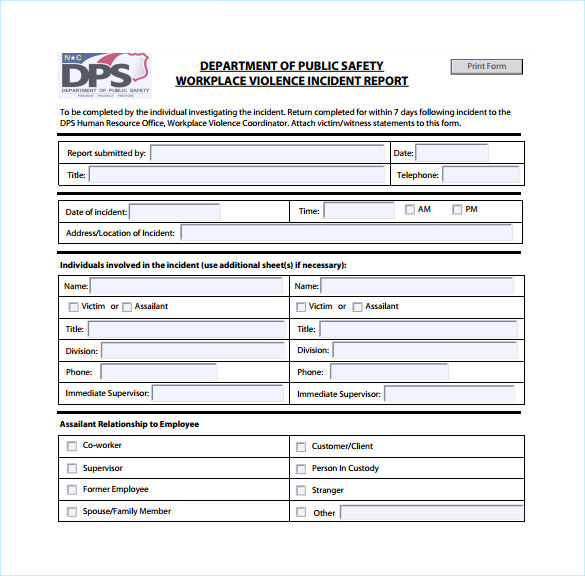 workplace incident report form template .