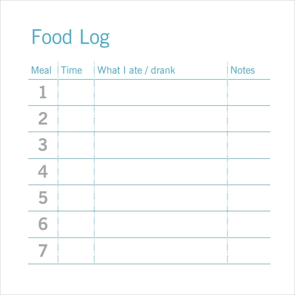 food log template pdf