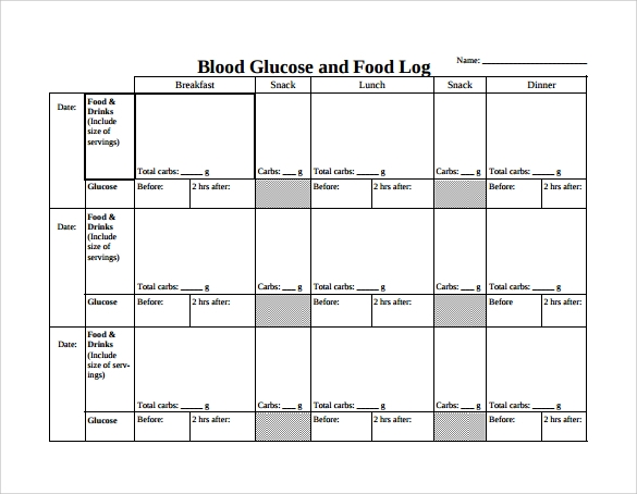 15 sample printable food log templates to download for Blood sugar log book template