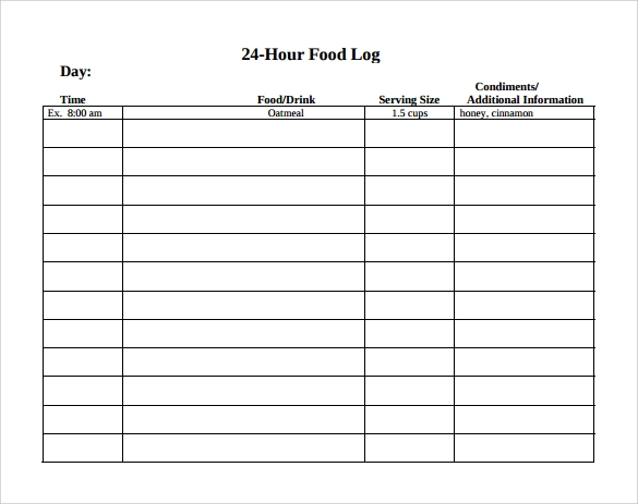 24 hour food log template