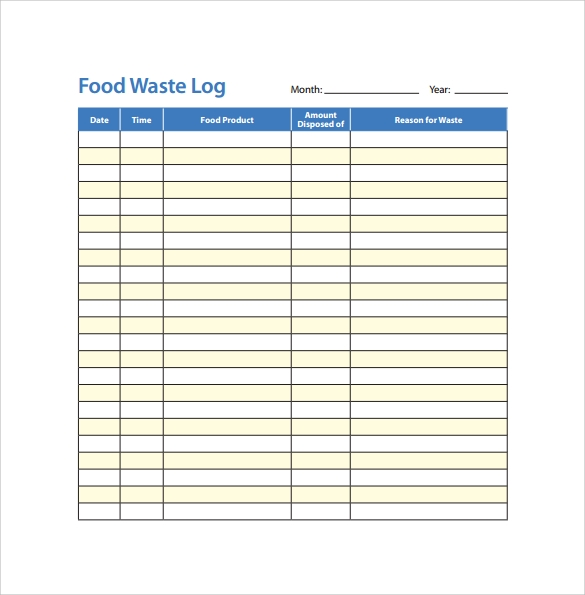 Food Log Template Excel  CityEsporaCo