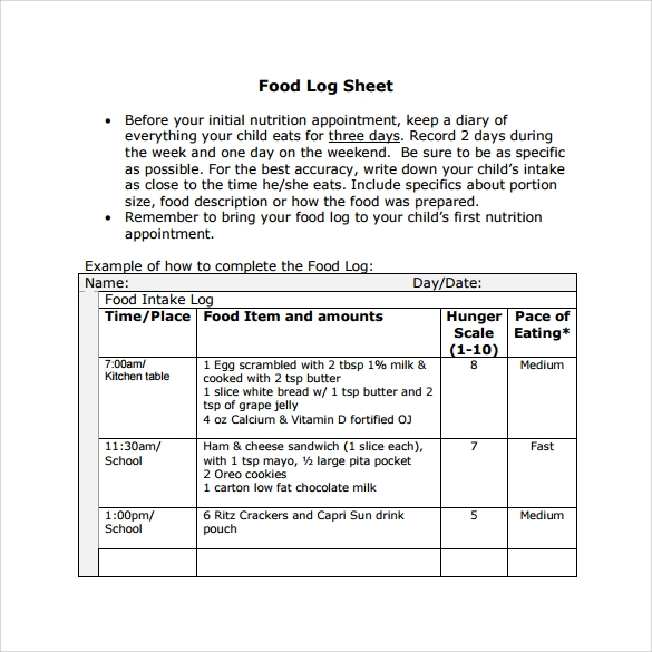 food log sheet template