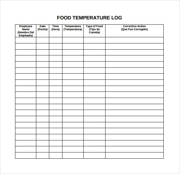 food tempature log template