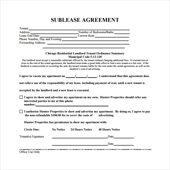 Business Sublease Agreement Template