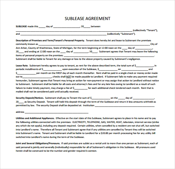 sample sublease agreement template .