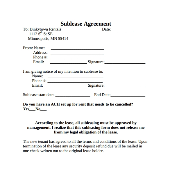 Sublease Agreement Template To Print  Free Agreement Template