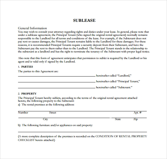 Sublease Rental Agreement Template