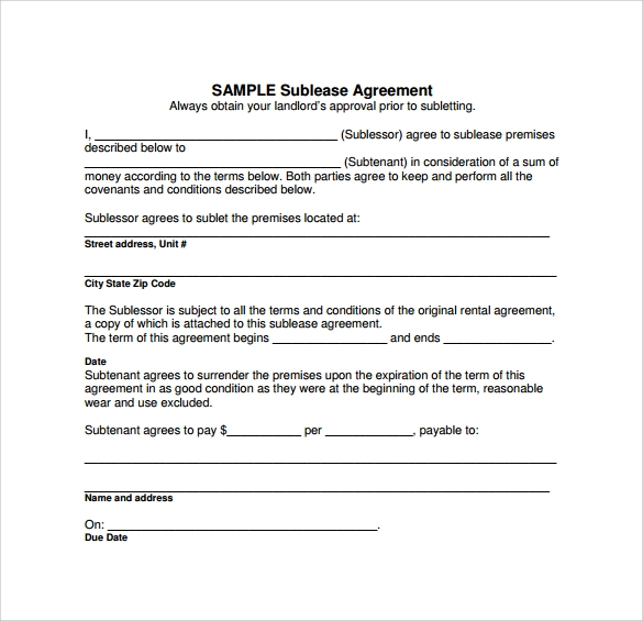Sublease Agreement Template Free