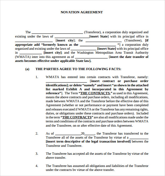 Novation Agreement - 6 Free Pdf , Doc Download