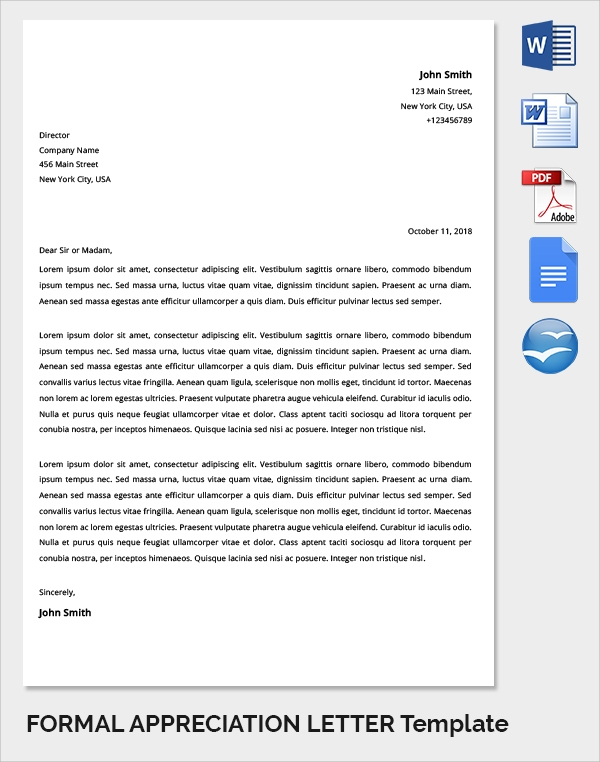 Formal Appreciation Letter Template  Formal Letter Template Download