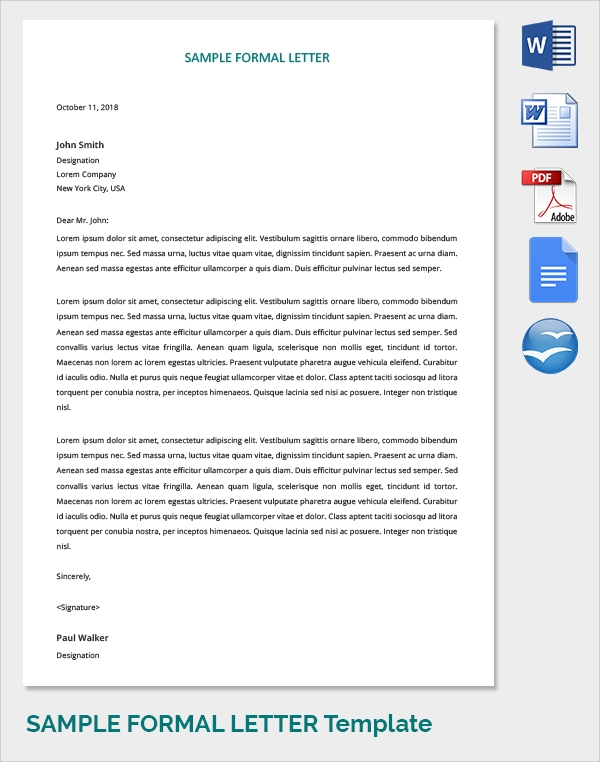 Sample Formal Letters - 17+ Free Documents Download In PDF , WORD