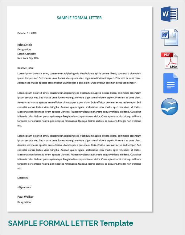 formal covering letter