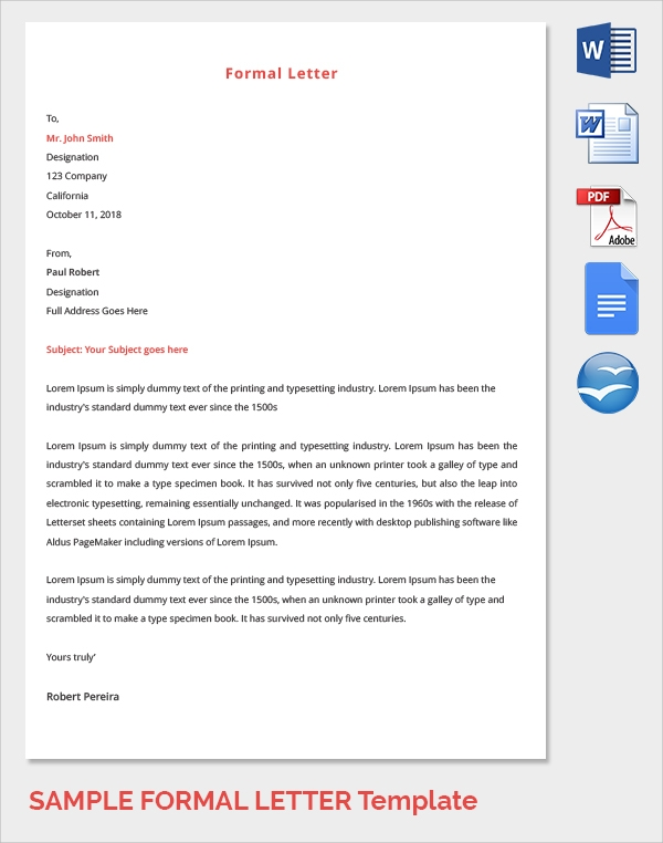 simple formal letter template