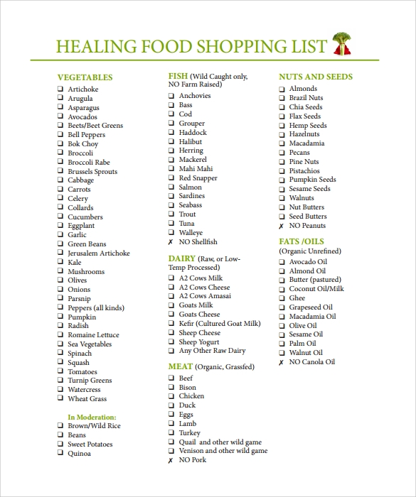 Free 7 Shopping List Samples Examples Templates