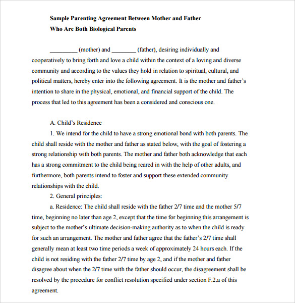 Child Support Mutual Agreement Template  Mutual Agreement Contract