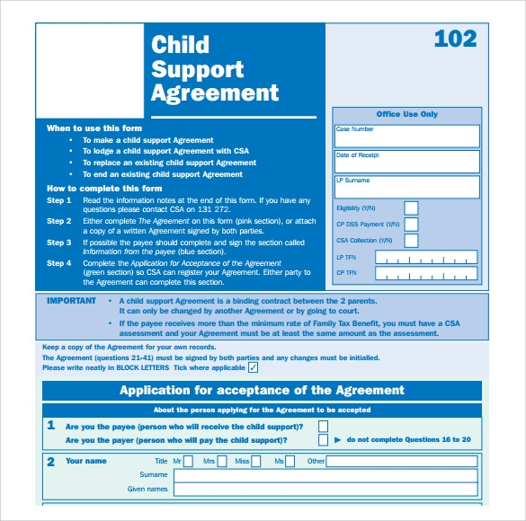informal child support agreement