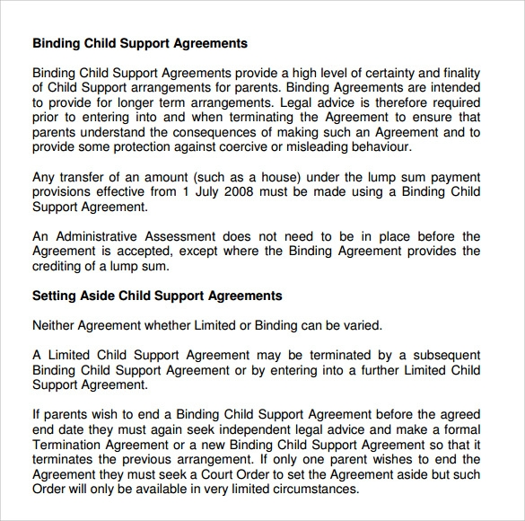 writing your own child support agreement