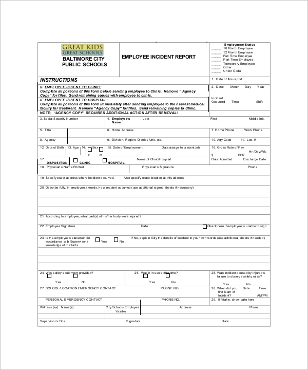 Sample Incident Report Template   Free Download Documents In