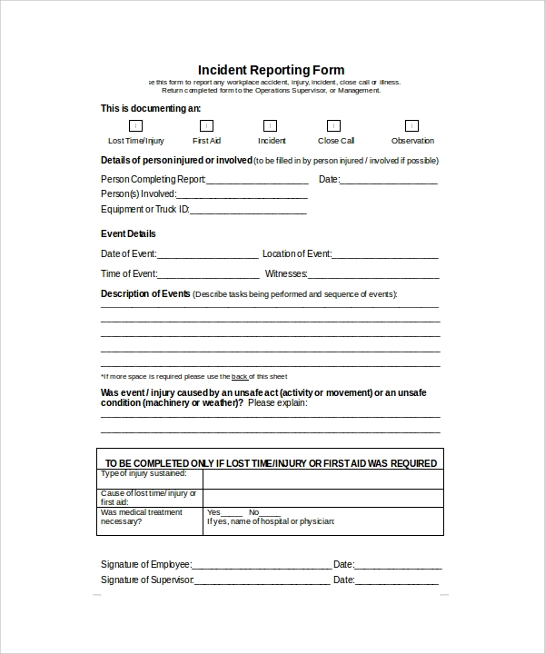 Sample Incident Report Template -16+ Free Download Documents In