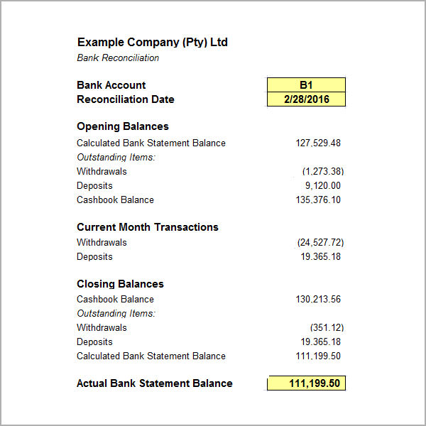 account bank statement balance