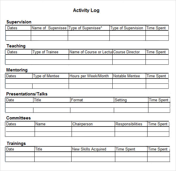 Activity Log Sample 5 Documents in PDF Word Excel – Weekly Log Template