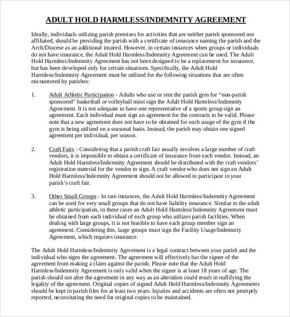 Adult Hold Harmless Agreement  Indemnity Agreement Template