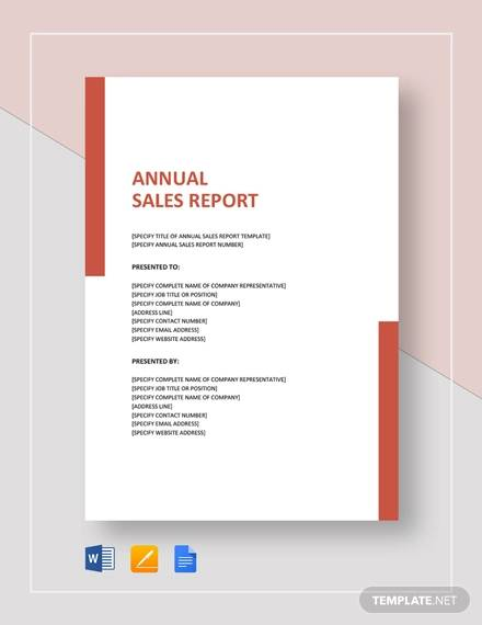 annual sales report sample