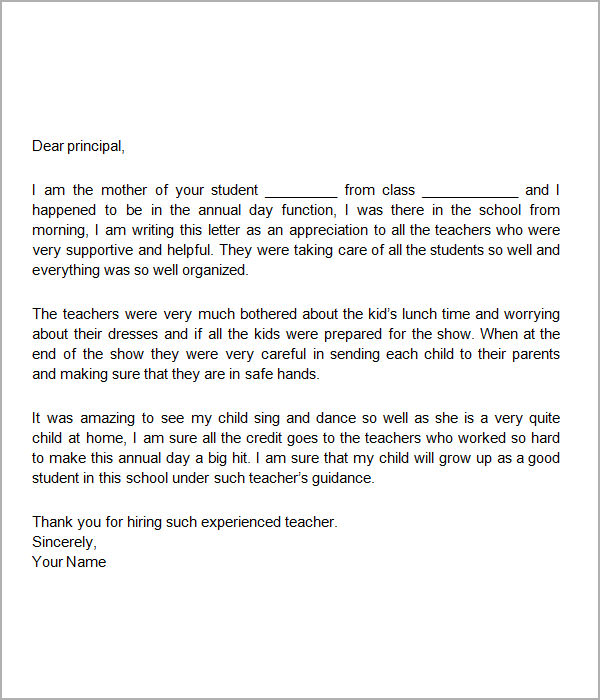 Appreciate Teacher Letter Teacher Appreciation Letter To Parents