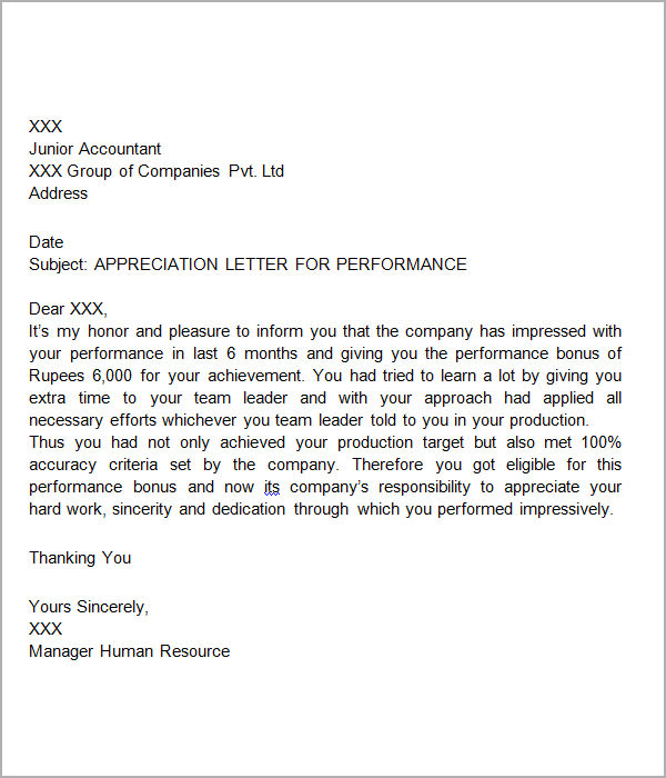 appreciation letter for performance