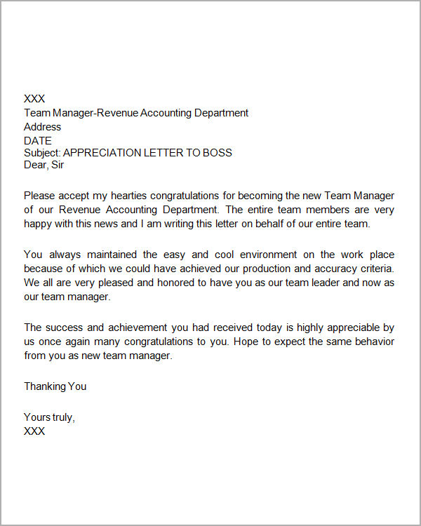 thank you letter to boss sample thank you letter to 16 free documents 25118 | Appreciation Letter to Boss