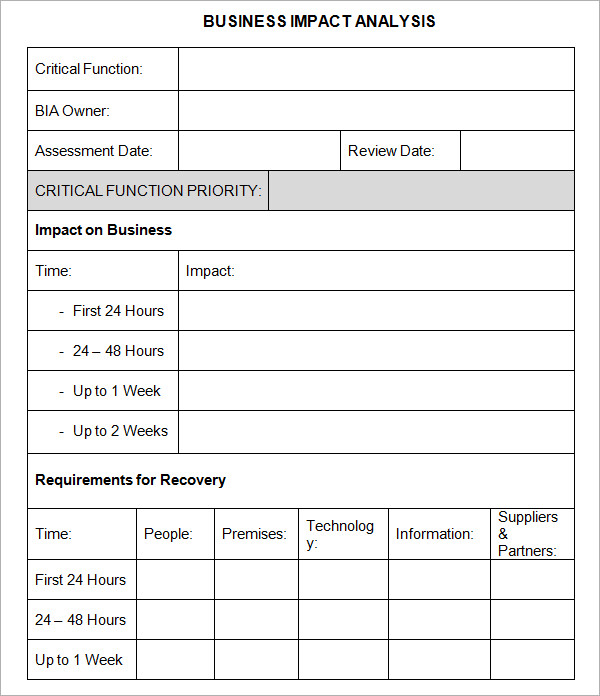 6 business impact analysis samples sample templates for Technical data package template