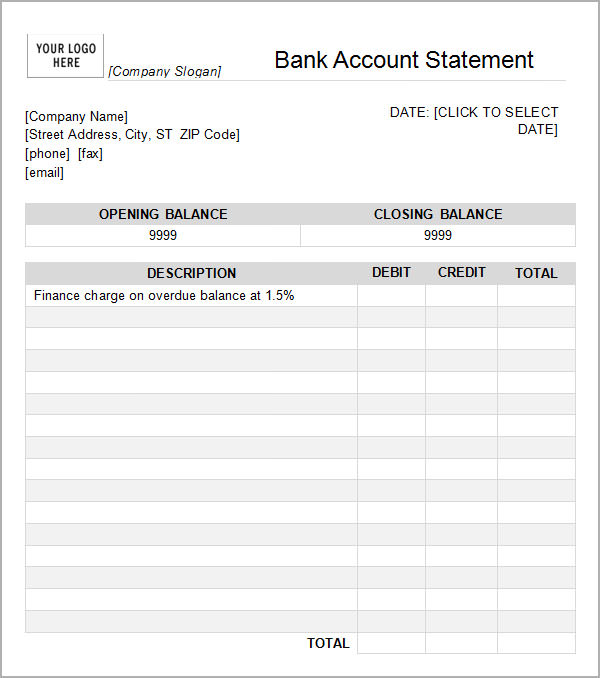 checking account templates
