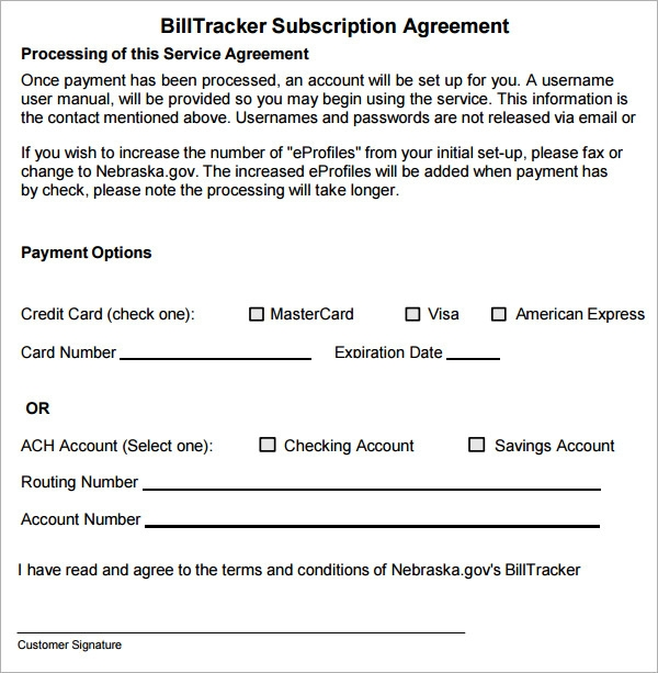 billtracker subscription agreement