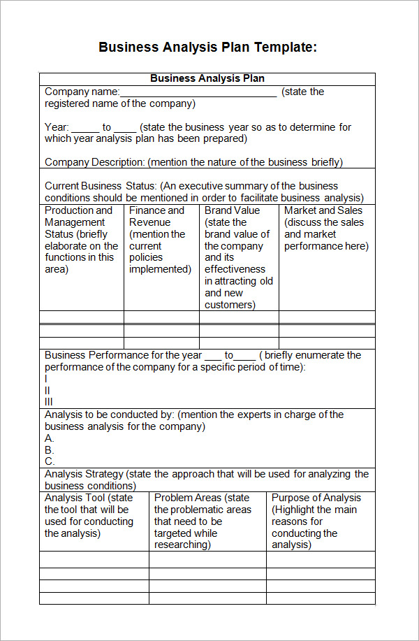 Business analysis plan template fbccfo Choice Image