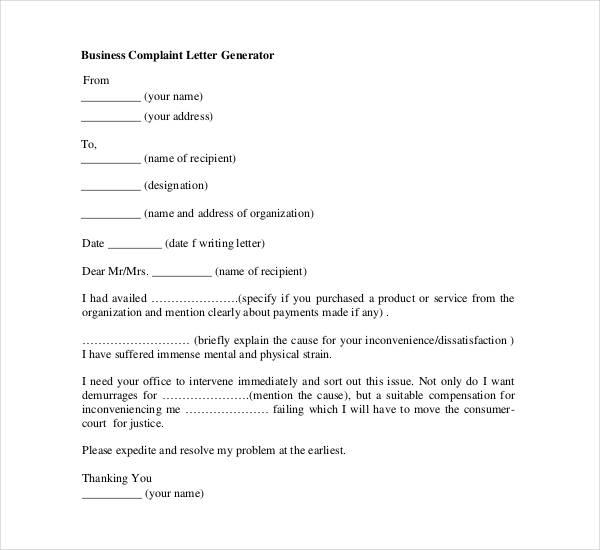 business-complaint-letter
