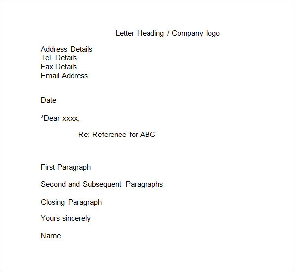 Business Reference Letters Format