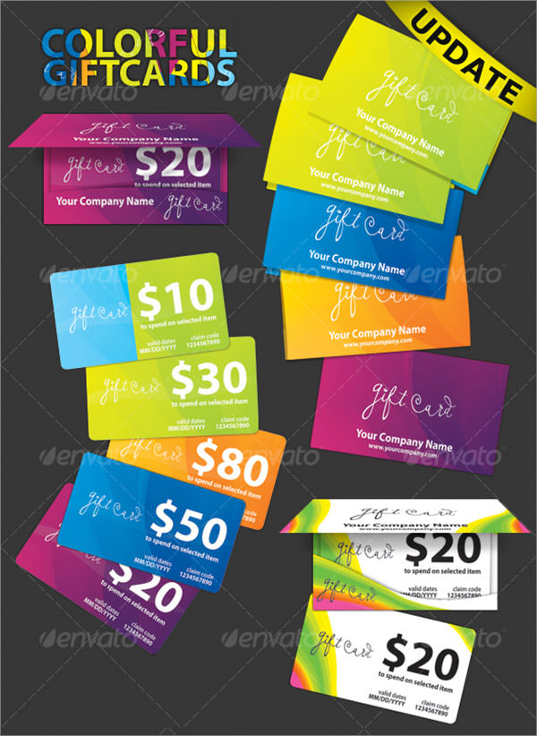 colorful gift cards