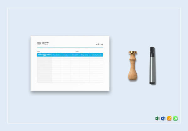call log template