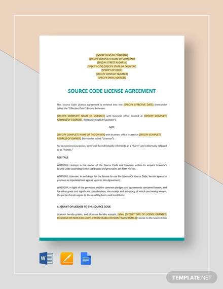 code license agreement template