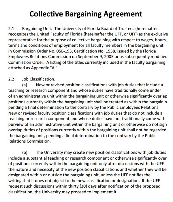 Collective Bargaining Agreement 5 Free Pdf Doc Download