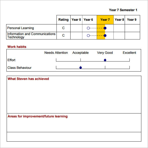 14 Sample Report Cards Pdf Word Excel Pages