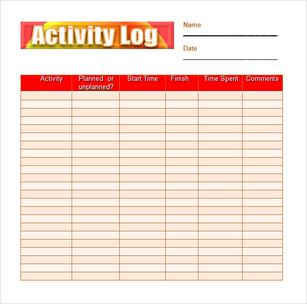 6 activity log samples sample templates for Activity programme template