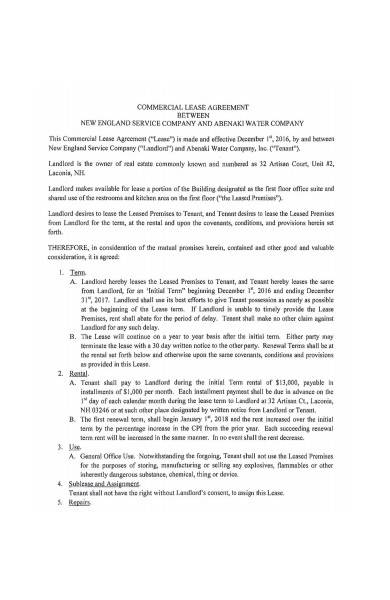 commercial lease agreement example
