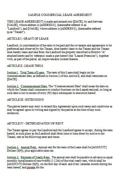 commercial lease agreement in ms word