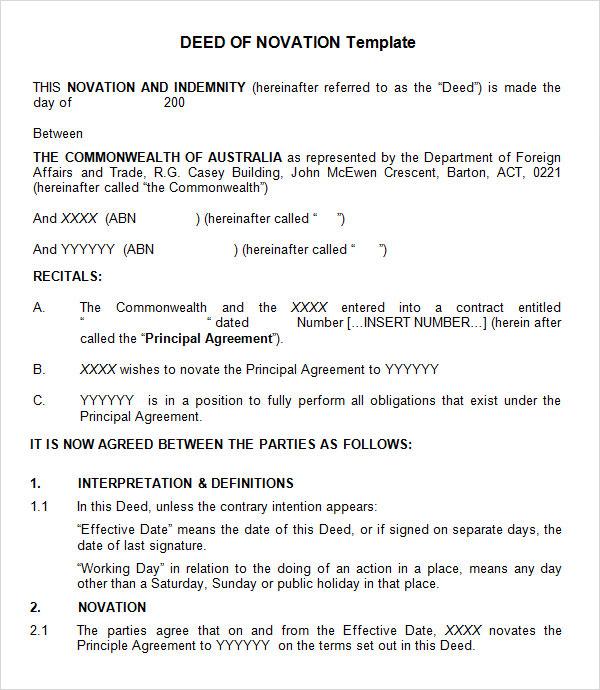Novation Agreement 7 Free PDF DOC Download