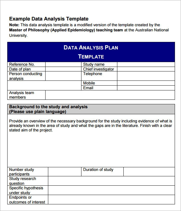Sample Data Analysis   Documents In Pdf Word