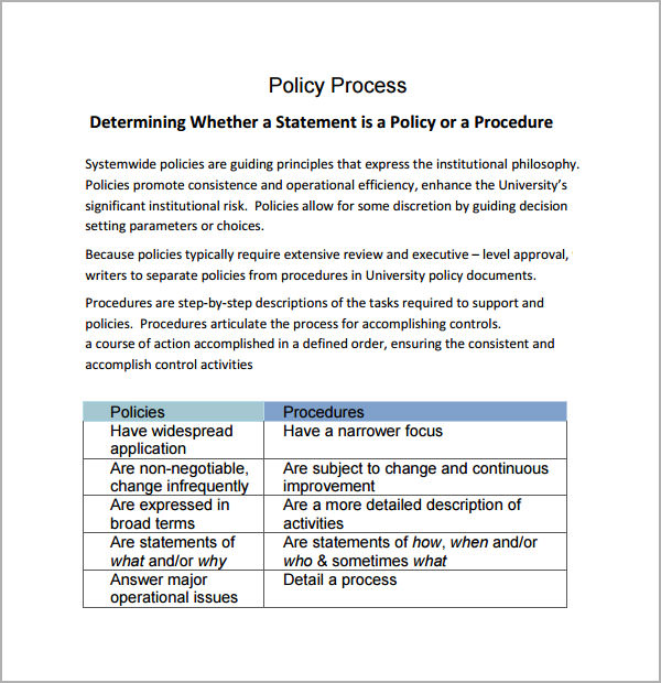 Company Policies And Procedures Template 6 Policy And Procedure Templates PDF Doc Sample Templates