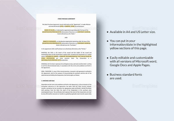 easy to edit stock purchase agreement template