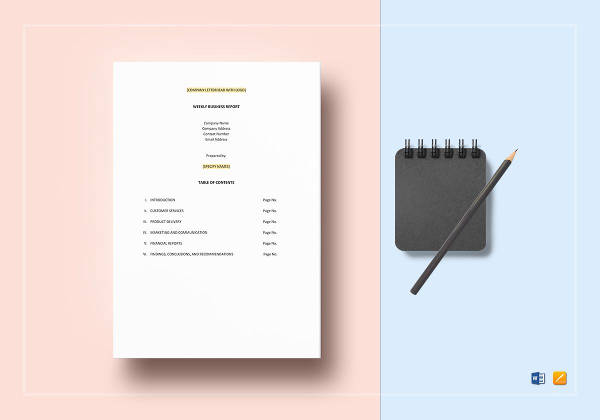 easy to print weekly business report template